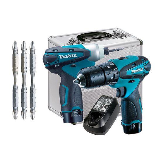 Kit Combo DK1493 Furadeira e Parafusadeira HP330D+TD090D + Kit Bits de Torção 2-85mm Phillips 3 Peça