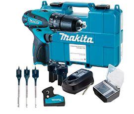 Kit-Parafusadeira-de-Impacto-HP330DWE--Makita---Jogo-Brocas-Self-Cut-Bosch