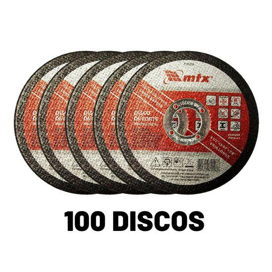 Kit 100 Discos de Corte para Inox e Metal 115x1x22mm 7375255 MTX