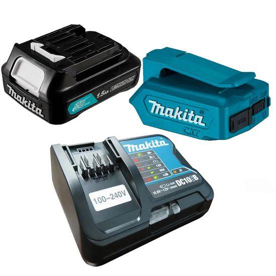 Kit-Adaptador-Compacto--Carregador-de-Baterias--Bateria-Ions-de-Litio-12V-Makita