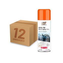 Kit Álcool Spray 70° Antisséptico e Higienizador 300ML 209G Orbi 12 Unidades