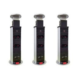 Kit 3 Torres de Tomada Multiplug 2 tomadas com 2 entradas USB