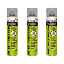 Kit 3 Borrachas Líquida em Spray Aerossol Hm Rubber 400 ml Cinza
