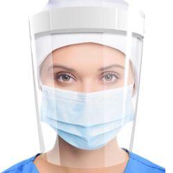 Máscara Protetor Facial com Visor Transparente em Polipropileno Face Shield Branco