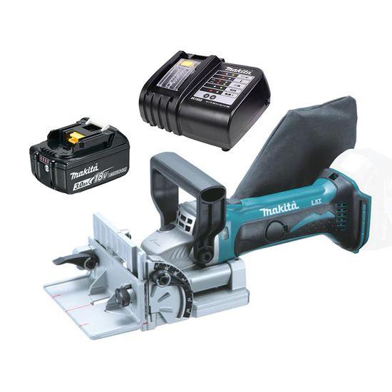 Kit Fresadora de Junção DPJ180Z Makita e Bateria 18V 3.0Ah e Carregador