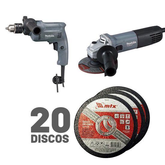 Kit Furadeira M0801KG e Esmerilhadeira M9511G Makita e 20 Discos de Corte